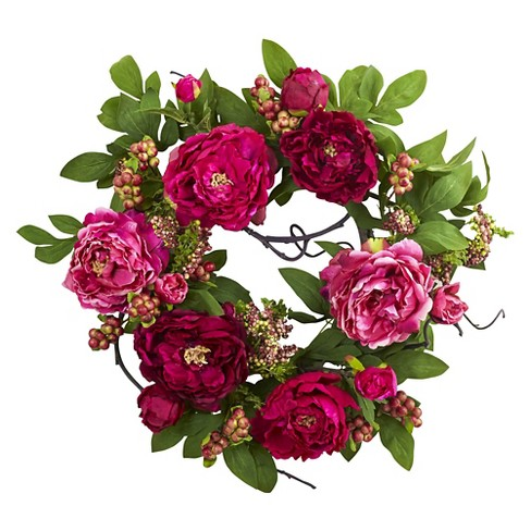 """Mixed Peony and Berry Silk Wreath Fuchsia 20"""" - Nearly Natural - image 1 of 3"""
