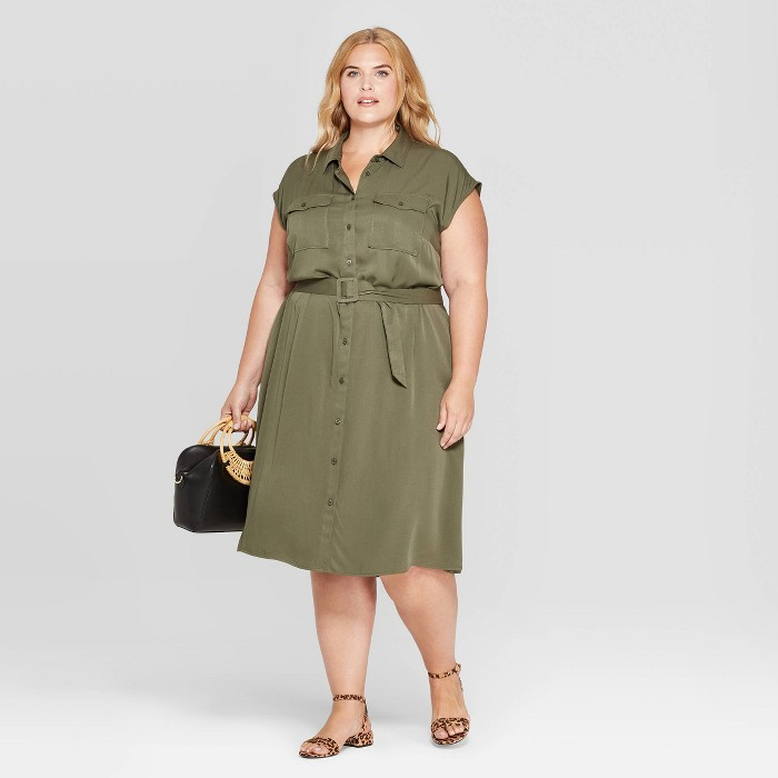 Women's Plus Size Short Sleeve Collared Midi Shirtdress - Ava & Viv™ - image 1 of 3