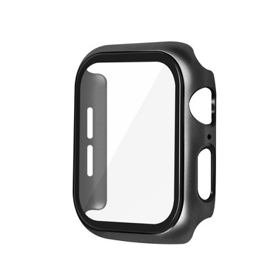 Metal Hard Case Compatible with Apple Watch 44mm Series 6 5 4 SE, Built in 9H Tempered Glass Screen Protector Full Protective Cover, Black by Insten