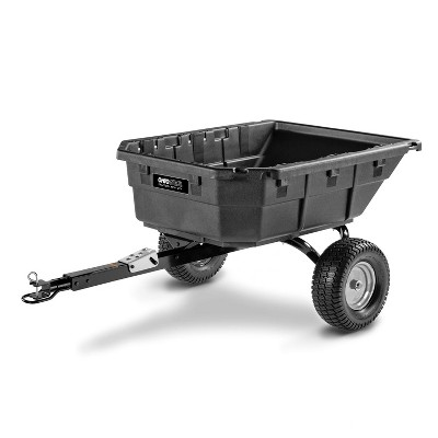 Ohio Steel 4048P-HYB 15 Cubic Foot Swivel Hybrid Lawn Tractor and ATV Utility Dump Cart with Foot Pedal, Multi Terrain Tires, and Rotating Multi Hitch
