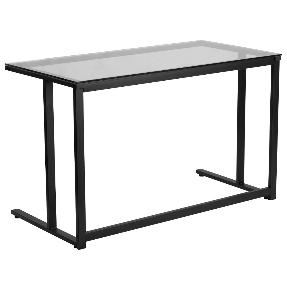 Image of Glass Desk with Pedestal Frame - Clear Glass Top/Black Frame - Riverstone Furniture Collection
