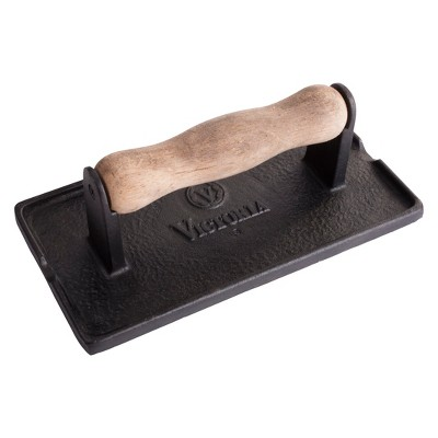 Victoria Preseasoned Cast Iron Bacon & Meat Press with Wood Handle