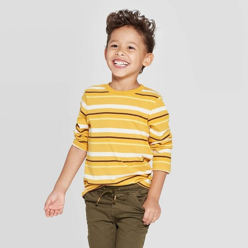 Toddler Boys' Striped Long Sleeve T-Shirt - Cat & Jack™ Yellow - image 1 of 3