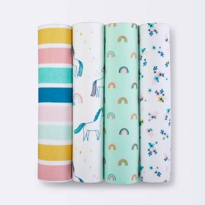 Flannel Baby Blankets Unicorn 4pk - Cloud Island™ - Innovative Blue