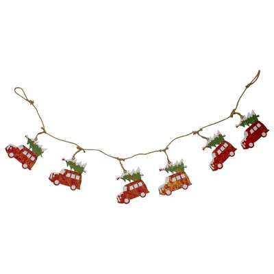 """Northlight 55"""" Red and Green Vintage Truck and Christmas Tree Christmas Garland"""