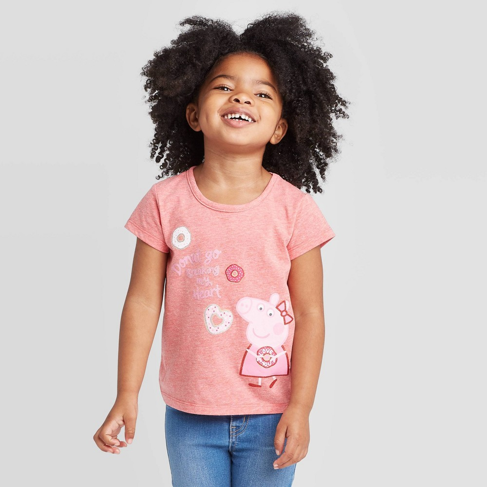 Image of petiteToddler Girls' Peppa Pig Donut Break My Heart V-day Short Sleeve T-Shirt - Red 2T, Girl's