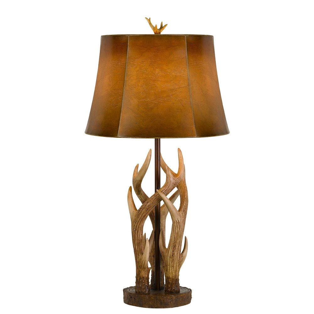 Image of 150W 3 Way Darby Antler Resin Table Lamp With Leathrette Shade - Cal Lighting