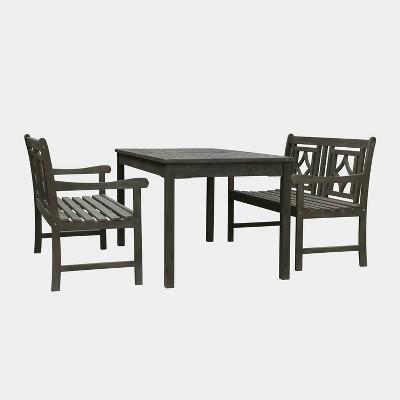 Renaissance 3pc Rectangle Wood Outdoor Patio Dining Set - Gray - Vifah