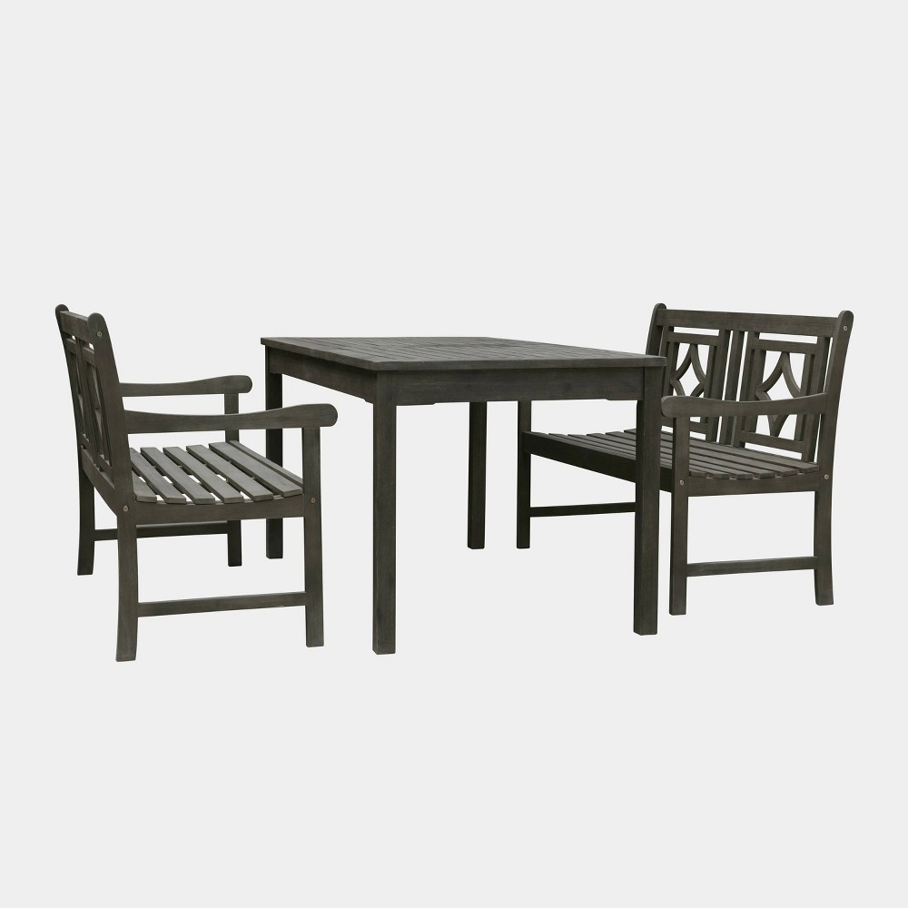 Fine Renaissance 3Pc Rectangle Wood Outdoor Patio Dining Set Gray Gmtry Best Dining Table And Chair Ideas Images Gmtryco