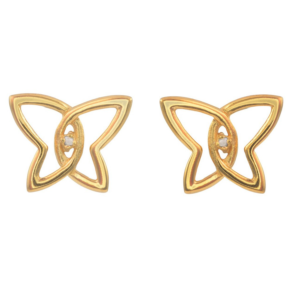 1/10 CT. T.W. Round-cut Diamond Pave-set Polished Butterfly Stud Earrings in Sterling Silver - Gold, Girl's
