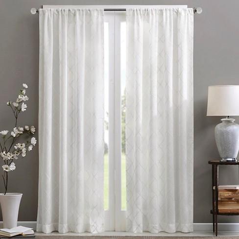 84 X50 Clarissa Diamond Sheer Curtain, Shimmer Sheer Curtain Panels