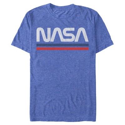 Men's NASA Stripe Minimal Logo Vintage T-Shirt