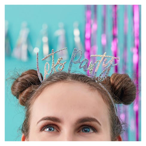 "5ct ""Lets Party"" Iridescent Head Bands - image 1 of 3"