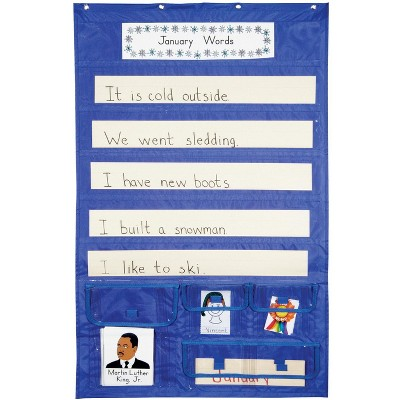 School Smart Sentence Strip Pocket Chart with Card Storage, 28 x 44-1/2 Inches, Blue