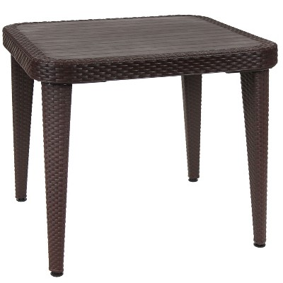 """Sunnydaze 35"""" Square Faux Wicker with Faux Wood Grain Top Design Plastic All-Weather Indoor/Outdoor Patio Dining Table, Wenge"""