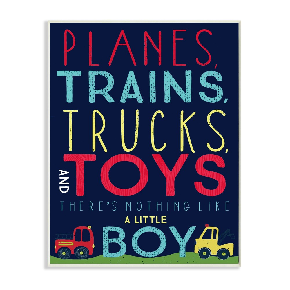 Planes Trains Trucks and Toys Wall Plaque Art (10x15