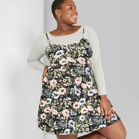 516699c24df Women s Plus Size Floral Print Strappy Knit Swing Dress - Wild Fable™ Black