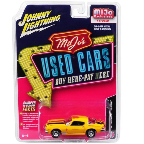 "1977 Chevrolet Camaro Yellow w/ Black Stripes ""Used Cars"" Series Ltd Ed 2400 pcs 1/64 Diecast Model by Johnny Lightning - image 1 of 1"
