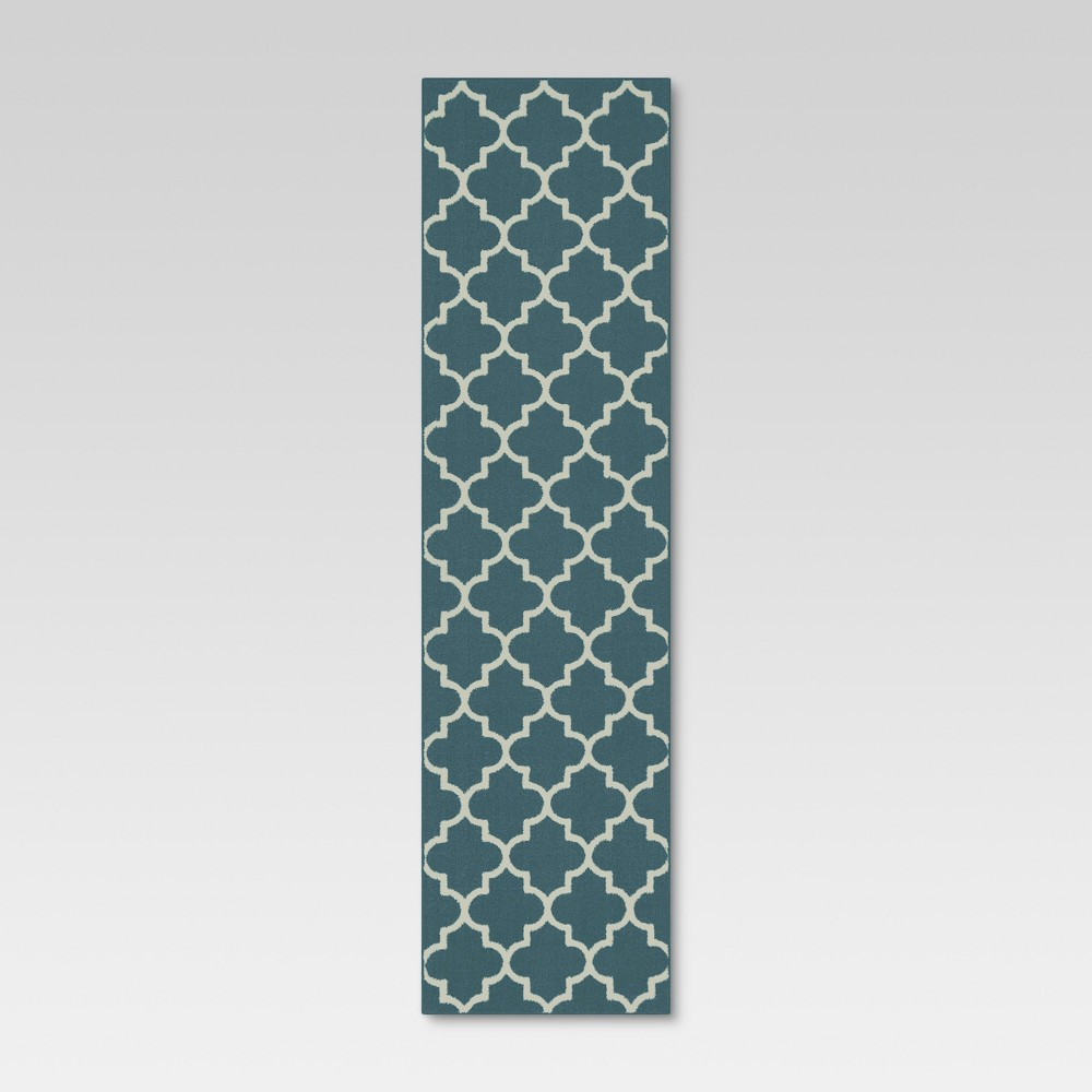 Runner Fretwork Design Blue