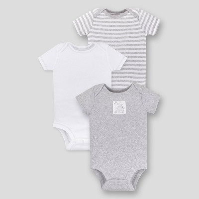 Lamaze Baby 3pk Essential Organic Cotton Bodysuit - Gray Newborn