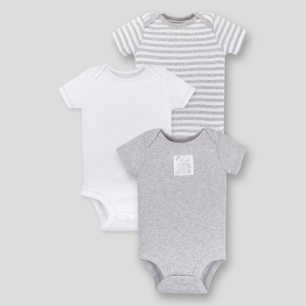 Image of Lamaze Baby 3pk Essential Organic Cotton Bodysuit - Gray 12M, Kids Unisex
