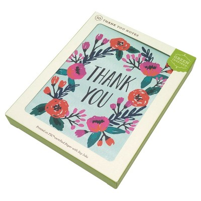 10ct Flowering Wreath Thank You Cards