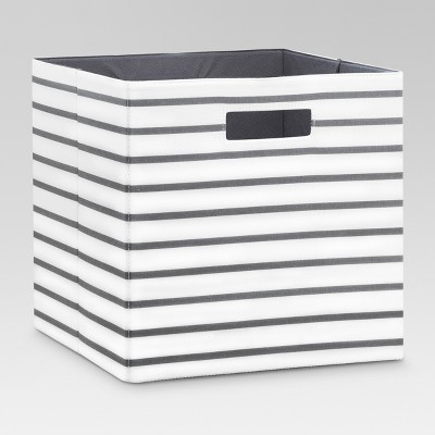 Fabric Cube Storage Bin White/Gray Stripe 13  - Threshold™
