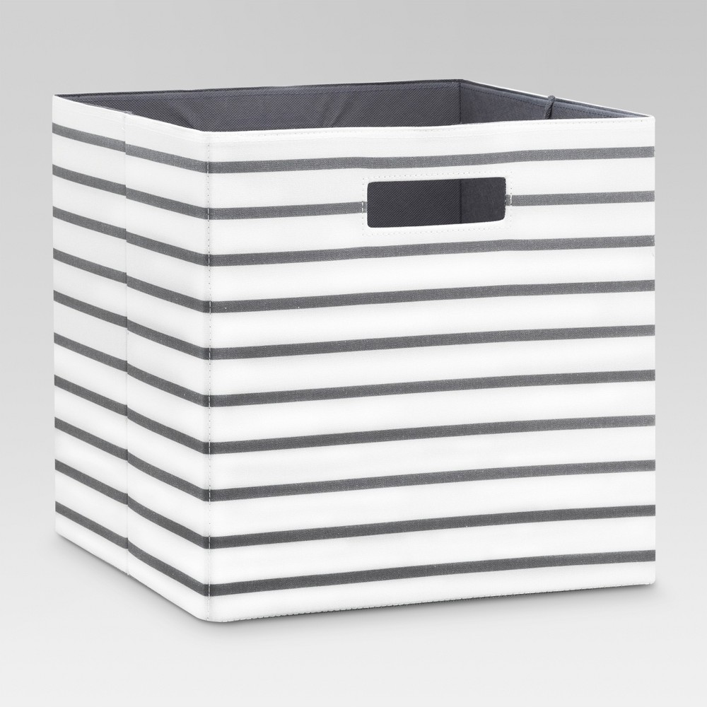 Image of Fabric Cube Storage Bin White/Gray Stripe 13 - Threshold