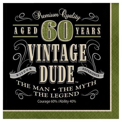 16ct Vintage Dude 60th Birthday Napkins