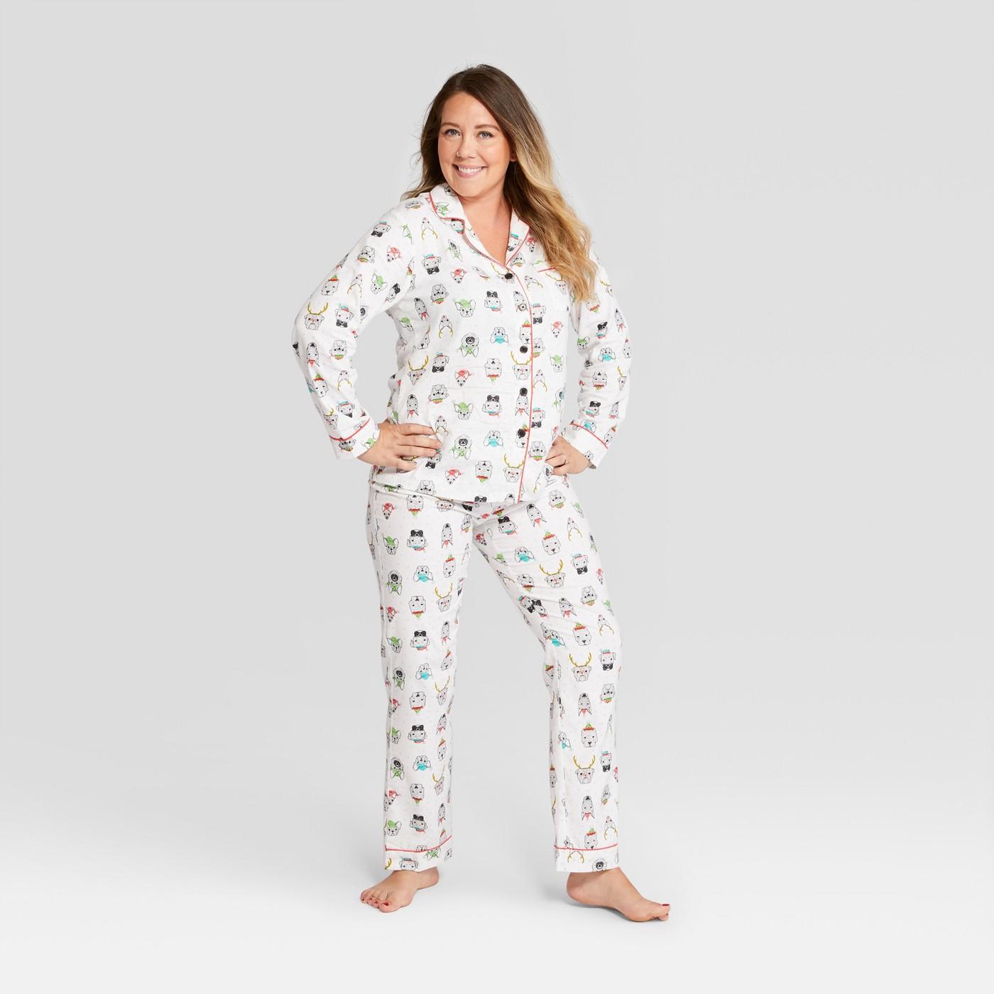 Women's Animal Print Holiday Festive Dogs Notch Collar Pajama Set - Wondershop™ White - image 1 of 3