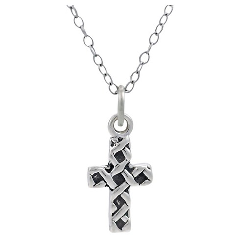 "Children's Journee Collection Weave Cross Pendant Necklace in Sterling Silver - Silver (14"") - image 1 of 2"