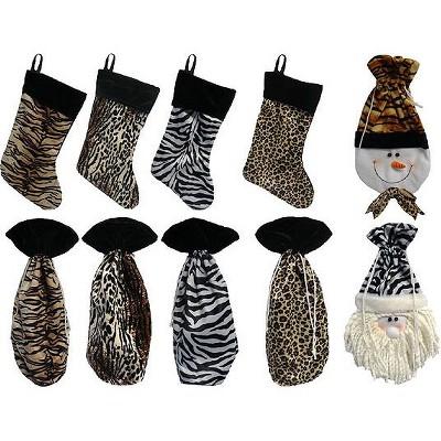 """CMI 10-Piece Brown Animal Print Christmas Stocking and Wine Gift Bag Set 15"""""""