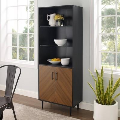 "68"" 3 Shelf Bookcase Hutch Style Bookmatch Vertical - Saracina Home"