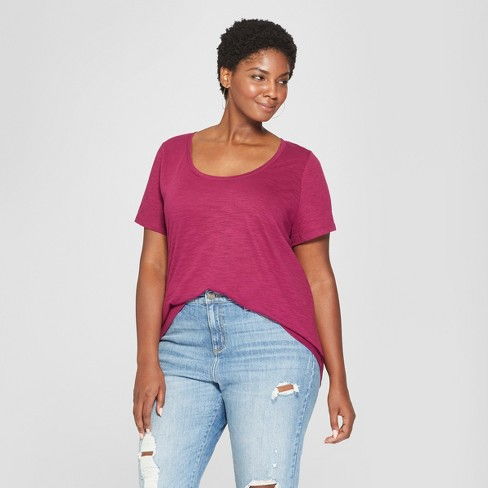 8017c1d3c7366 Women's Plus Size Scoop Neck Short Sleeve T-Shirt - Ava & Viv™ Berry ...
