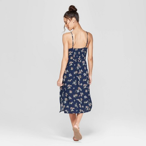 c811a38aa69a Women s Floral Print Strappy High Neck Midi Dress - Xhilaration™ Navy    Target
