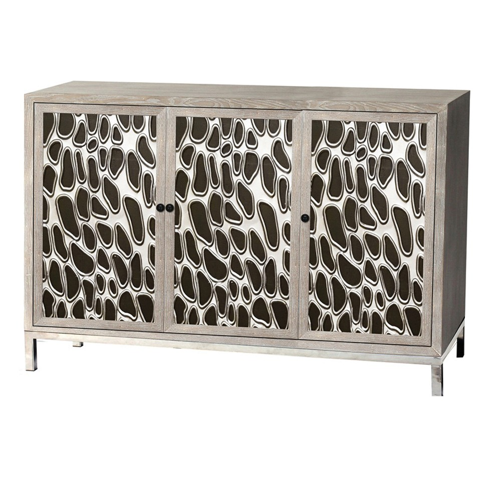 Wooden 3 Door Cabinet Brown - Home Source Industries