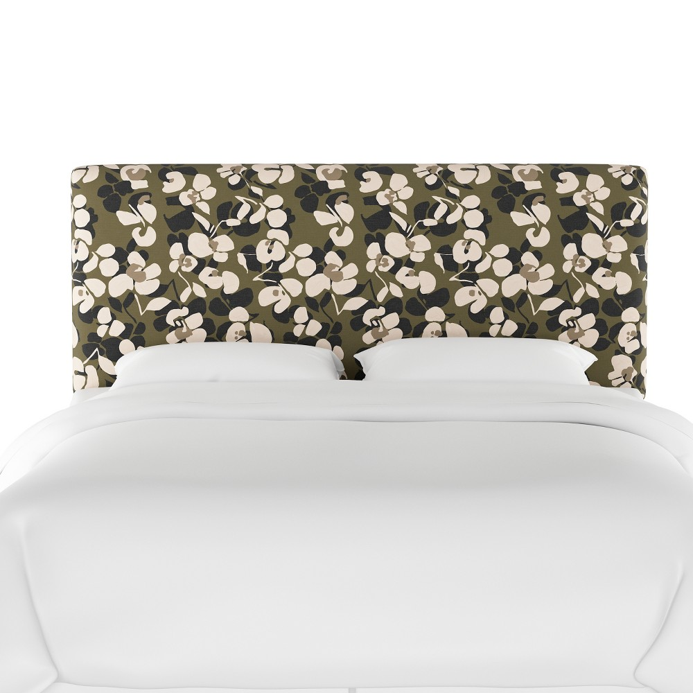 California King Olivia Upholstered Headboard Neutral Floral - Cloth & Co.