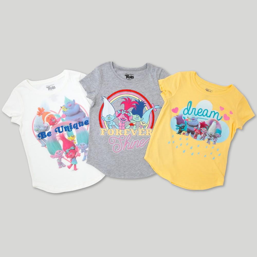 Girls' Trolls 3pk Short Sleeve T-Shirt Set - S, Multicolored