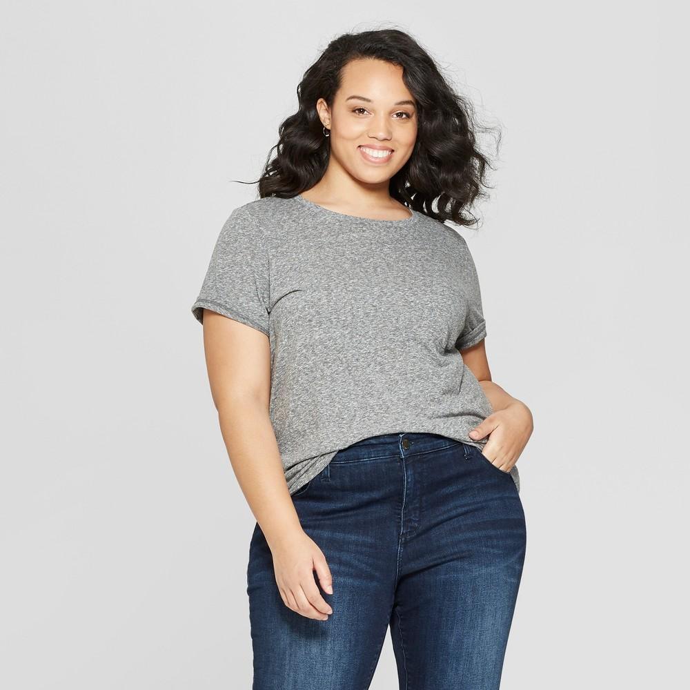 Women's Plus Size Short Sleeve Crew Neck Meriwether Pocket T-Shirt - Universal Thread Heather Gray 1X