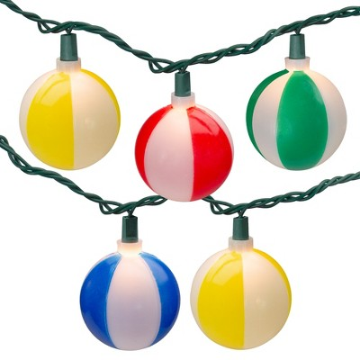 Northlight 10 Multi Color Beach Ball Summer Patio String Lights – 8.5 ft White Wire