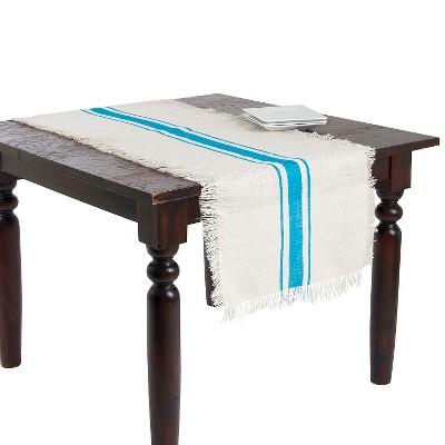 Striped Design Jute Runner Turquoise (20 x70 )
