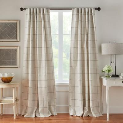 Brighton Windowpane Plaid Blackout Window Curtain Panel - Elrene Home Fashions