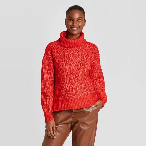 Women's Turtleneck Cable Stitch Pullover Sweater A New Day™ Red XS
