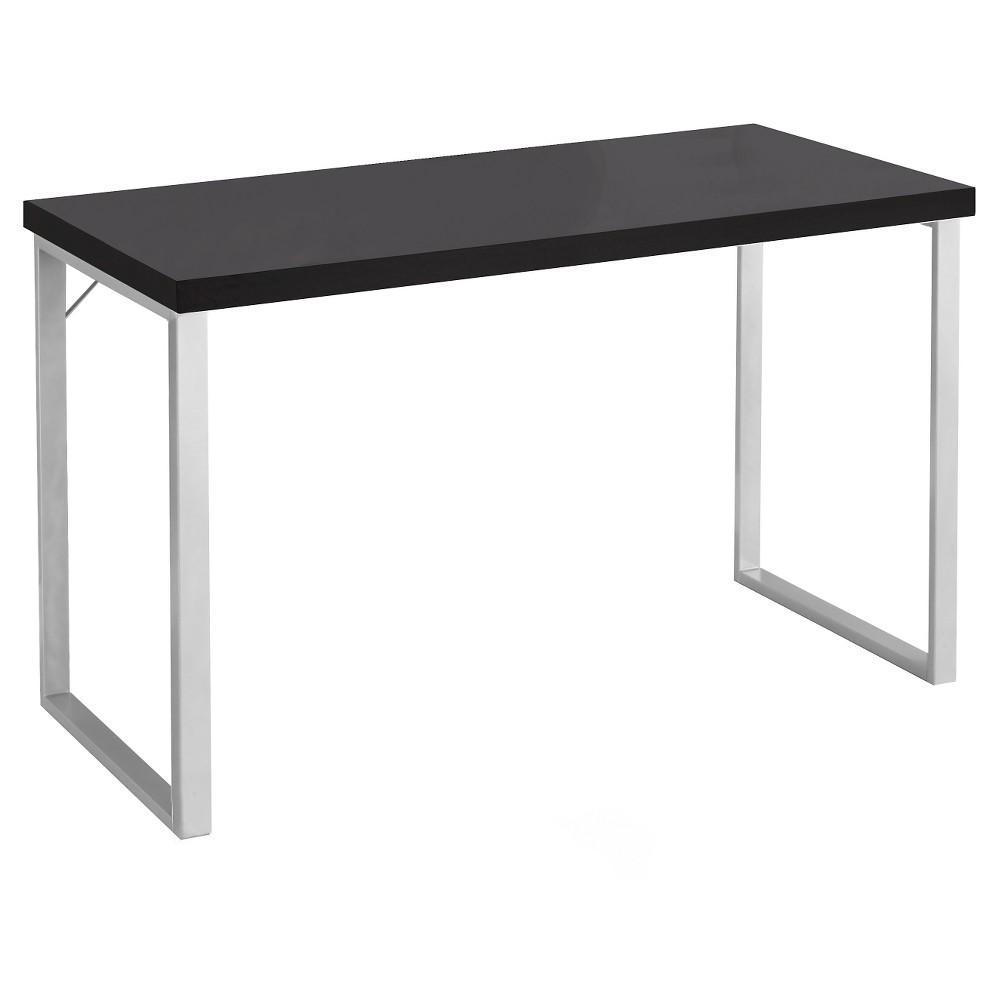 Contemporary Silver Metal Computer Desk - Cappuccino - EveryRoom, Brown