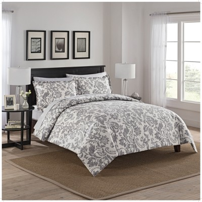 Gray Damask Tanner Reversible Comforter Set (King)- Marble Hill