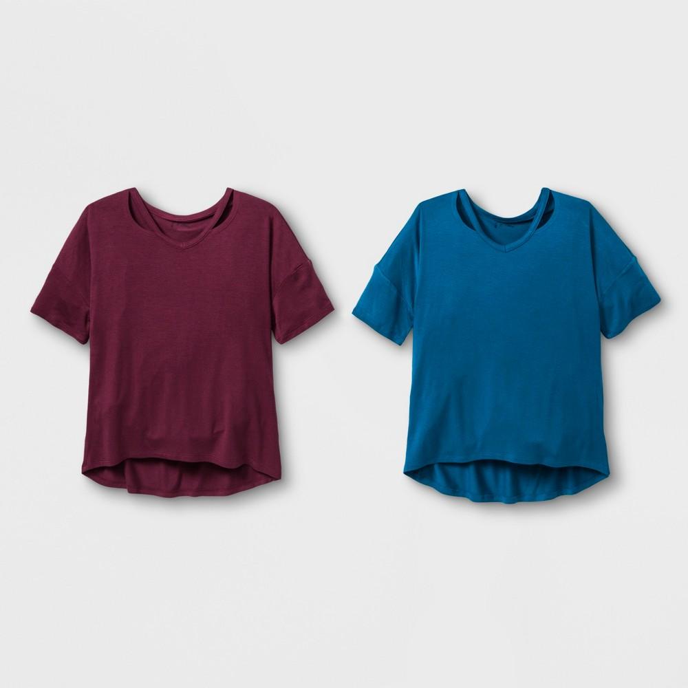 Girls' Short Sleeve Cut Out 2pk T-Shirt - art class Maroon/Blue L, Red Blue