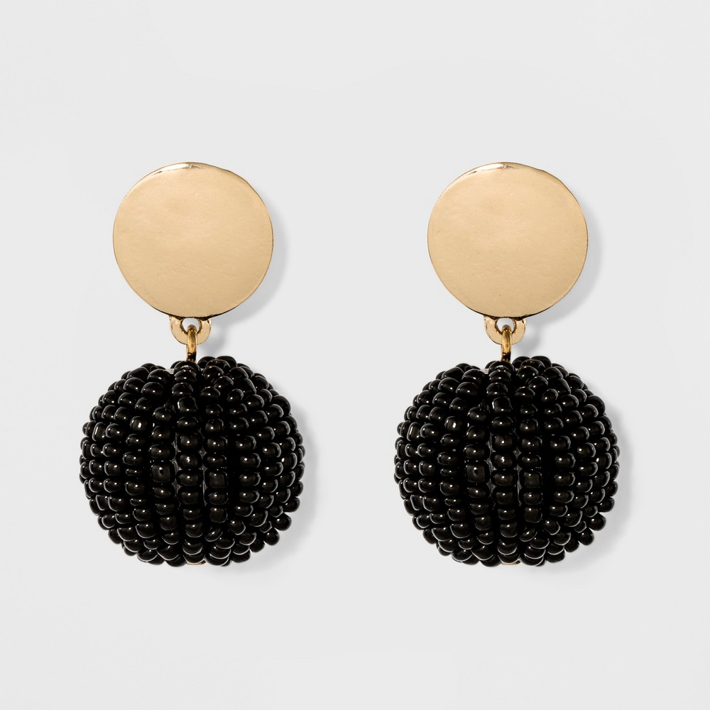Round Casting with Round Beaded Bauble Ball Earrings - A New Day Black