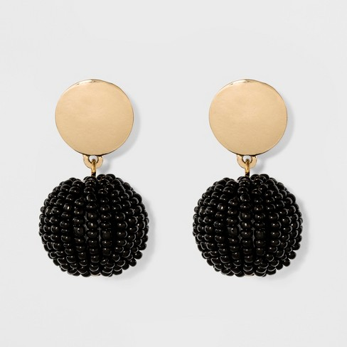 Round Casting With Beaded Bauble Ball Earrings A New Day Black