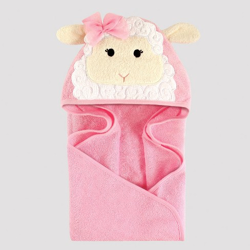 Hudson Baby Girls' Little Lamb Hooded Towel - Ivory One Size - image 1 of 1