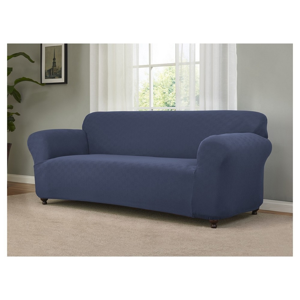 Blue Solid Sofa Slipcover